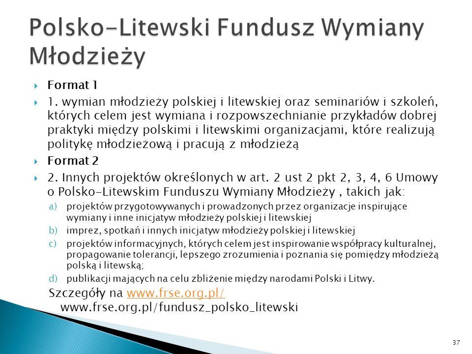 Format 1 1. wymian młodzieży polskiej i litewskiej oraz seminariów i szkoleń, których celem jest wymiana i rozpowszechnianie przykładów dobrej praktyk