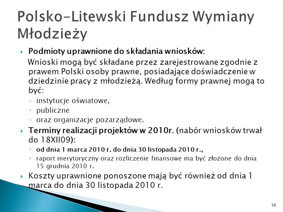 Podmioty uprawnione do składania wniosków: Wnioski mogą być składane przez zarejestrowane zgodnie z prawem Polski osoby prawne, posiadające doświadczenie w dziedzinie pracy z młodzieżą.