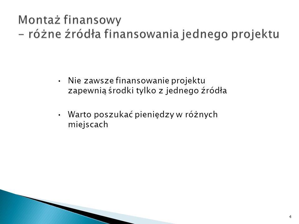 Nie zawsze finansowanie projektu zapewnią środki tylko z jednego źródła Warto poszukać pieniędzy w różnych miejscach 4