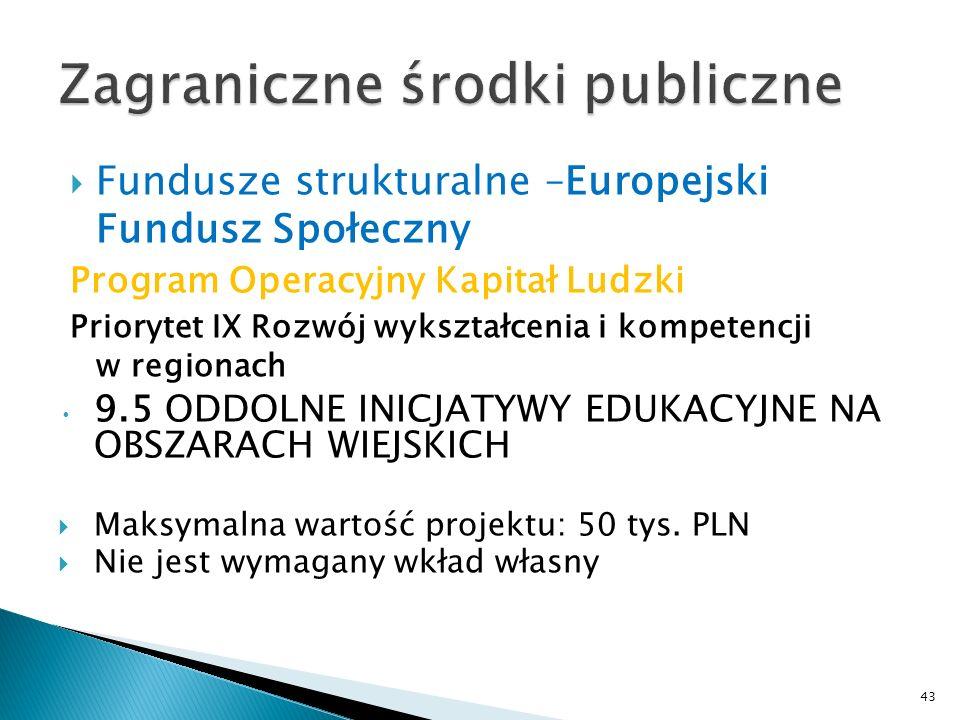 Fundusze strukturalne –Europejski Fundusz Społeczny Program Operacyjny Kapitał Ludzki Priorytet IX Rozwój wykształcenia i kompetencji w regionach 9.5