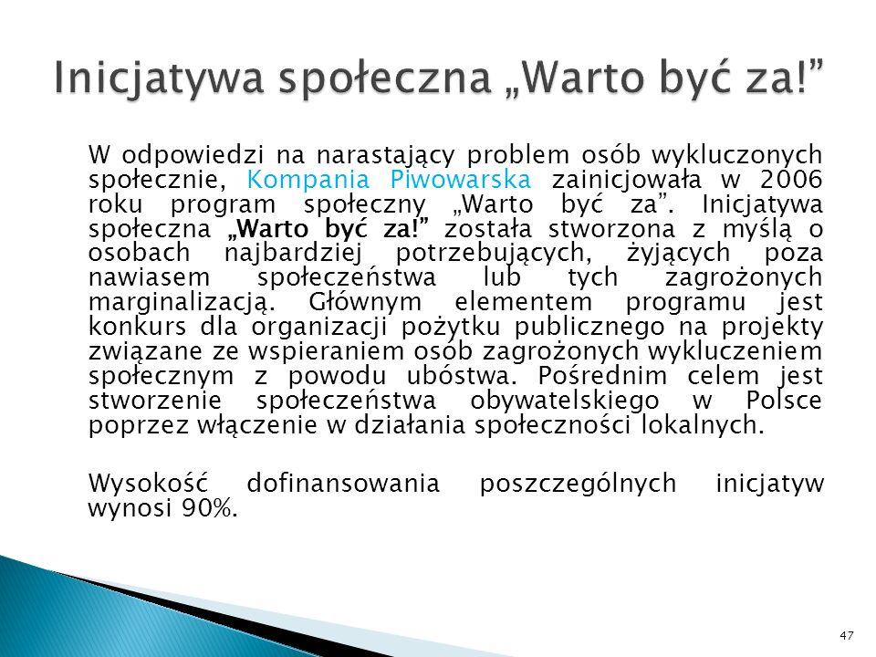 W odpowiedzi na narastający problem osób wykluczonych społecznie, Kompania Piwowarska zainicjowała w 2006 roku program społeczny Warto być za.