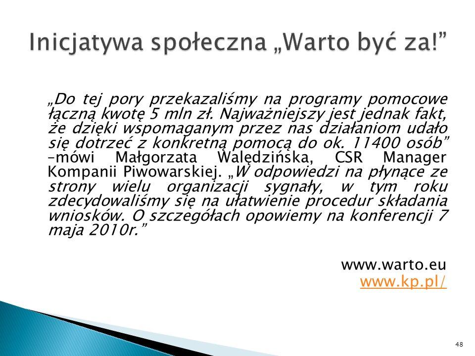 Do tej pory przekazaliśmy na programy pomocowe łączną kwotę 5 mln zł.