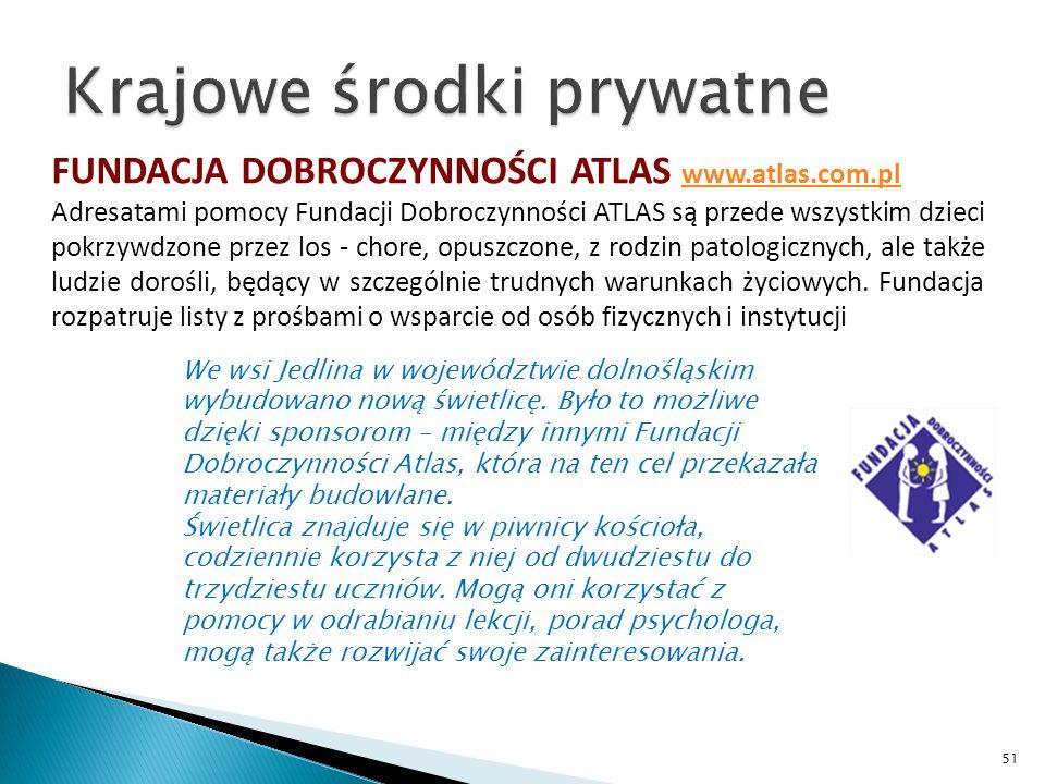FUNDACJA DOBROCZYNNOŚCI ATLAS www.atlas.com.pl www.atlas.com.pl Adresatami pomocy Fundacji Dobroczynności ATLAS są przede wszystkim dzieci pokrzywdzone przez los - chore, opuszczone, z rodzin patologicznych, ale także ludzie dorośli, będący w szczególnie trudnych warunkach życiowych.