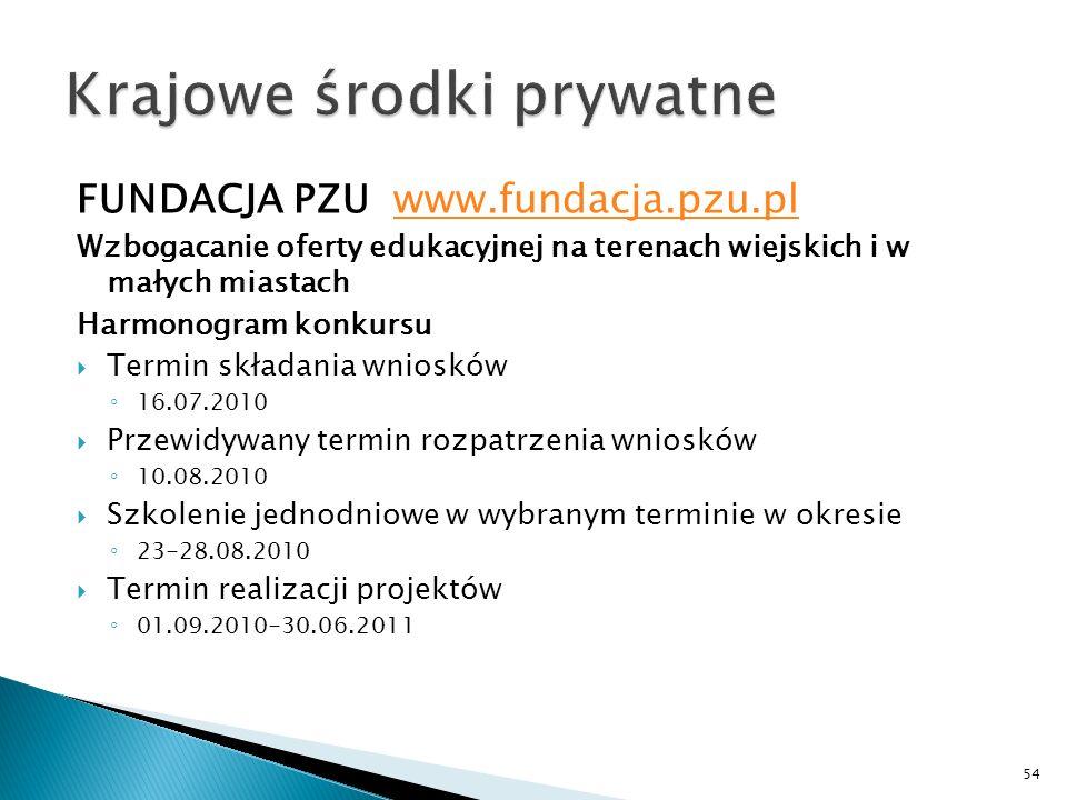 FUNDACJA PZU www.fundacja.pzu.plwww.fundacja.pzu.pl Wzbogacanie oferty edukacyjnej na terenach wiejskich i w małych miastach Harmonogram konkursu Term