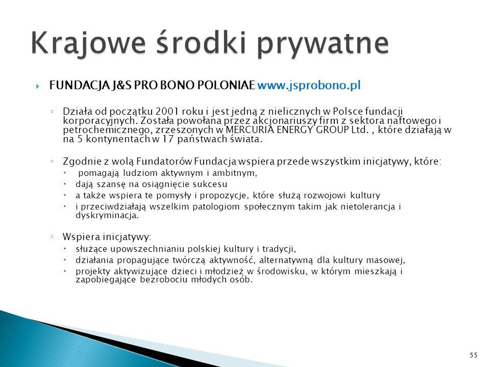 FUNDACJA J&S PRO BONO POLONIAE www.jsprobono.pl Działa od początku 2001 roku i jest jedną z nielicznych w Polsce fundacji korporacyjnych. Została powo
