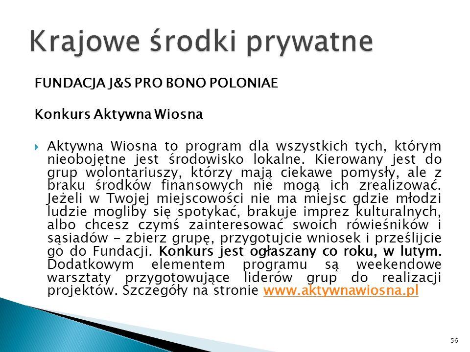 FUNDACJA J&S PRO BONO POLONIAE Konkurs Aktywna Wiosna Aktywna Wiosna to program dla wszystkich tych, którym nieobojętne jest środowisko lokalne. Kiero