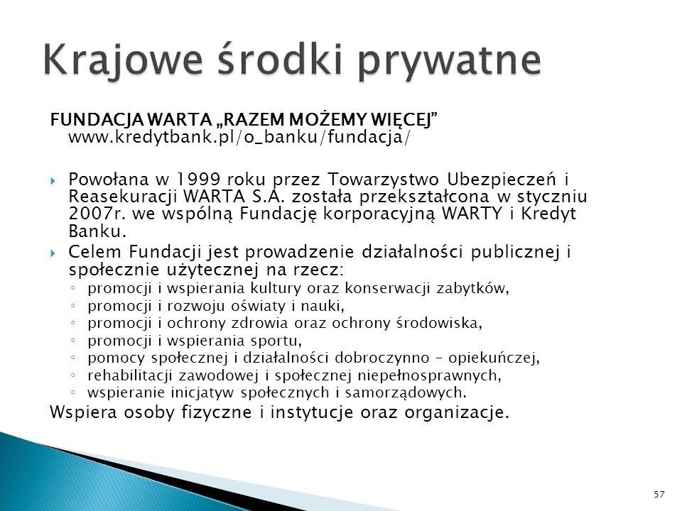 FUNDACJA WARTA RAZEM MOŻEMY WIĘCEJ www.kredytbank.pl/o_banku/fundacja/ Powołana w 1999 roku przez Towarzystwo Ubezpieczeń i Reasekuracji WARTA S.A.