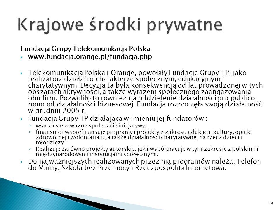 Fundacja Grupy Telekomunikacja Polska www.fundacja.orange.pl/fundacja.php Telekomunikacja Polska i Orange, powołały Fundację Grupy TP, jako realizatora działań o charakterze społecznym, edukacyjnym i charytatywnym.