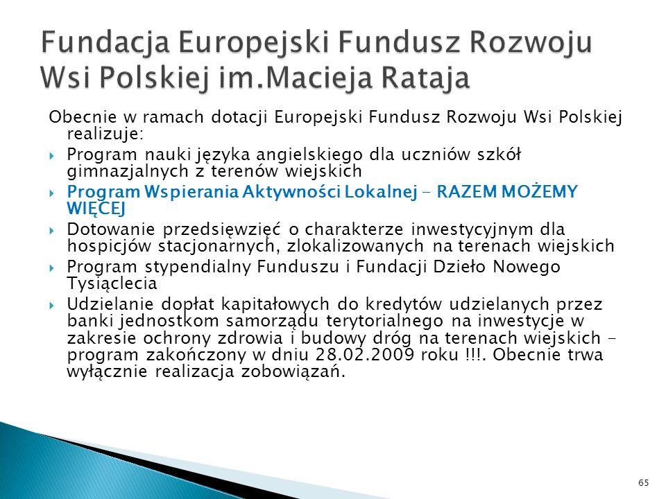 Obecnie w ramach dotacji Europejski Fundusz Rozwoju Wsi Polskiej realizuje: Program nauki języka angielskiego dla uczniów szkół gimnazjalnych z terenów wiejskich Program Wspierania Aktywności Lokalnej - RAZEM MOŻEMY WIĘCEJ Dotowanie przedsięwzięć o charakterze inwestycyjnym dla hospicjów stacjonarnych, zlokalizowanych na terenach wiejskich Program stypendialny Funduszu i Fundacji Dzieło Nowego Tysiąclecia Udzielanie dopłat kapitałowych do kredytów udzielanych przez banki jednostkom samorządu terytorialnego na inwestycje w zakresie ochrony zdrowia i budowy dróg na terenach wiejskich - program zakończony w dniu 28.02.2009 roku !!!.