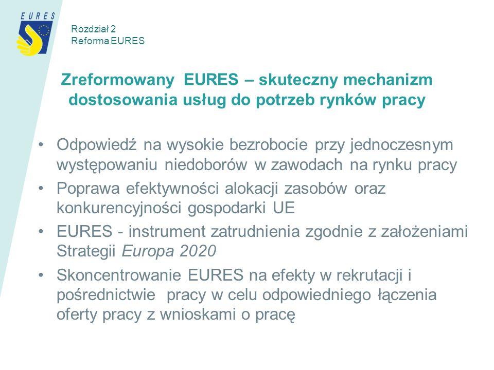 Zreformowany EURES – skuteczny mechanizm dostosowania usług do potrzeb rynków pracy Odpowiedź na wysokie bezrobocie przy jednoczesnym występowaniu niedoborów w zawodach na rynku pracy Poprawa efektywności alokacji zasobów oraz konkurencyjności gospodarki UE EURES - instrument zatrudnienia zgodnie z założeniami Strategii Europa 2020 Skoncentrowanie EURES na efekty w rekrutacji i pośrednictwie pracy w celu odpowiedniego łączenia oferty pracy z wnioskami o pracę Rozdział 2 Reforma EURES