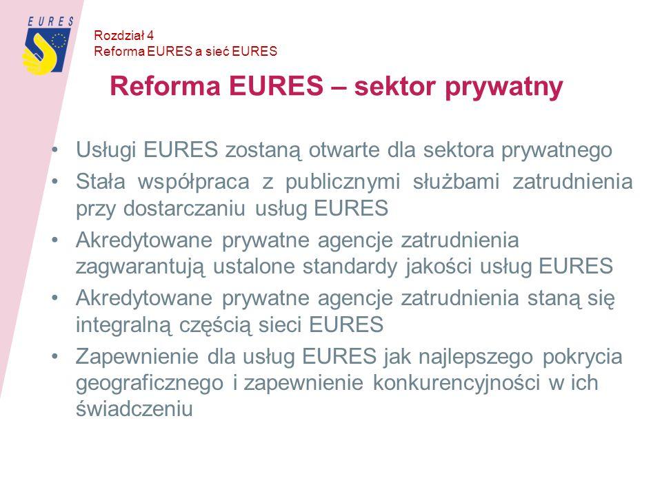 Reforma EURES – sektor prywatny Usługi EURES zostaną otwarte dla sektora prywatnego Stała współpraca z publicznymi służbami zatrudnienia przy dostarcz