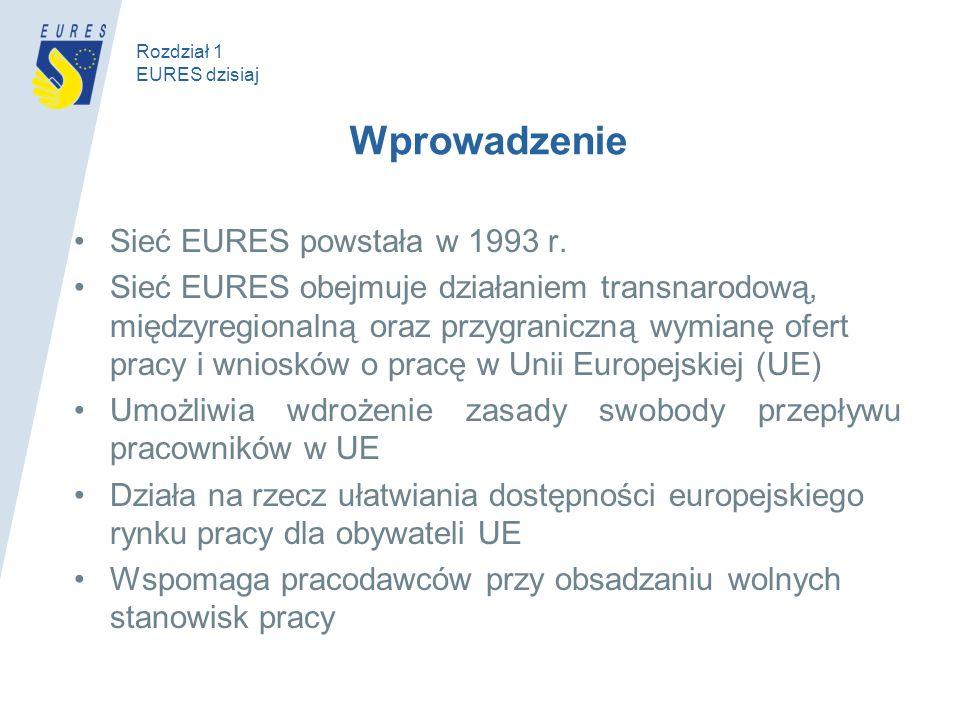 Wprowadzenie Sieć EURES powstała w 1993 r. Sieć EURES obejmuje działaniem transnarodową, międzyregionalną oraz przygraniczną wymianę ofert pracy i wni