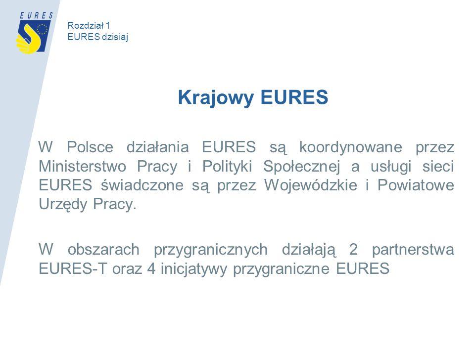 Krajowy EURES W Polsce działania EURES są koordynowane przez Ministerstwo Pracy i Polityki Społecznej a usługi sieci EURES świadczone są przez Wojewódzkie i Powiatowe Urzędy Pracy.