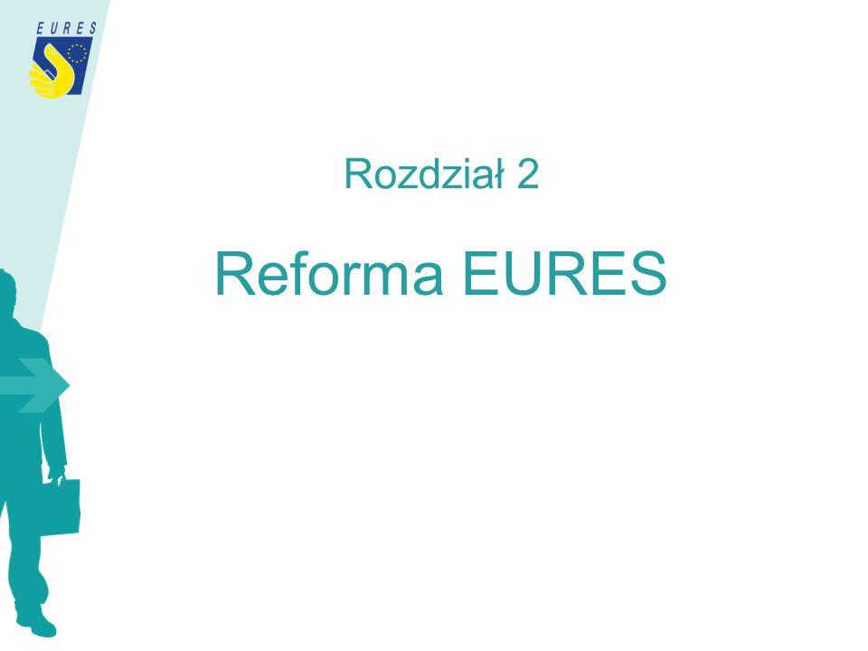 Nowa struktura sieci Europejski Urząd Koordynacji EURES (obecnie EURESco ) Członkowie EURES – krajowe urzędy koordynacji wyznaczone przez kraje członkowskie Partnerzy EURES – wyznaczeni przez krajowe urzędy koordynacji zgodnie z przyjętymi kryteriami akredytacji (zdefiniowanymi w statucie EURES) Zrzeszeni Partnerzy EURES – świadczący ograniczony zakres usług EURES pod nadzorem akredytowanego partnera EURES lub Europejskiego Urzędu Koordynacji Rozdział 4 Reforma EURES a sieć EURES