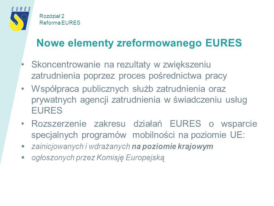 Nowe elementy zreformowanego EURES Skoncentrowanie na rezultaty w zwiększeniu zatrudnienia poprzez proces pośrednictwa pracy Współpraca publicznych służb zatrudnienia oraz prywatnych agencji zatrudnienia w świadczeniu usług EURES Rozszerzenie zakresu działań EURES o wsparcie specjalnych programów mobilności na poziomie UE: zainicjowanych i wdrażanych na poziomie krajowym ogłoszonych przez Komisję Europejską Rozdział 2 Reforma EURES