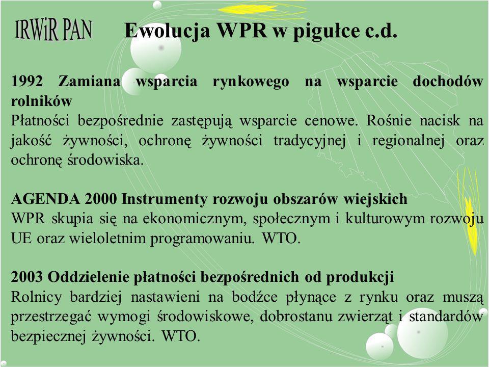 Ewolucja WPR w pigułce c.d. 1992 Zamiana wsparcia rynkowego na wsparcie dochodów rolników Płatności bezpośrednie zastępują wsparcie cenowe. Rośnie nac