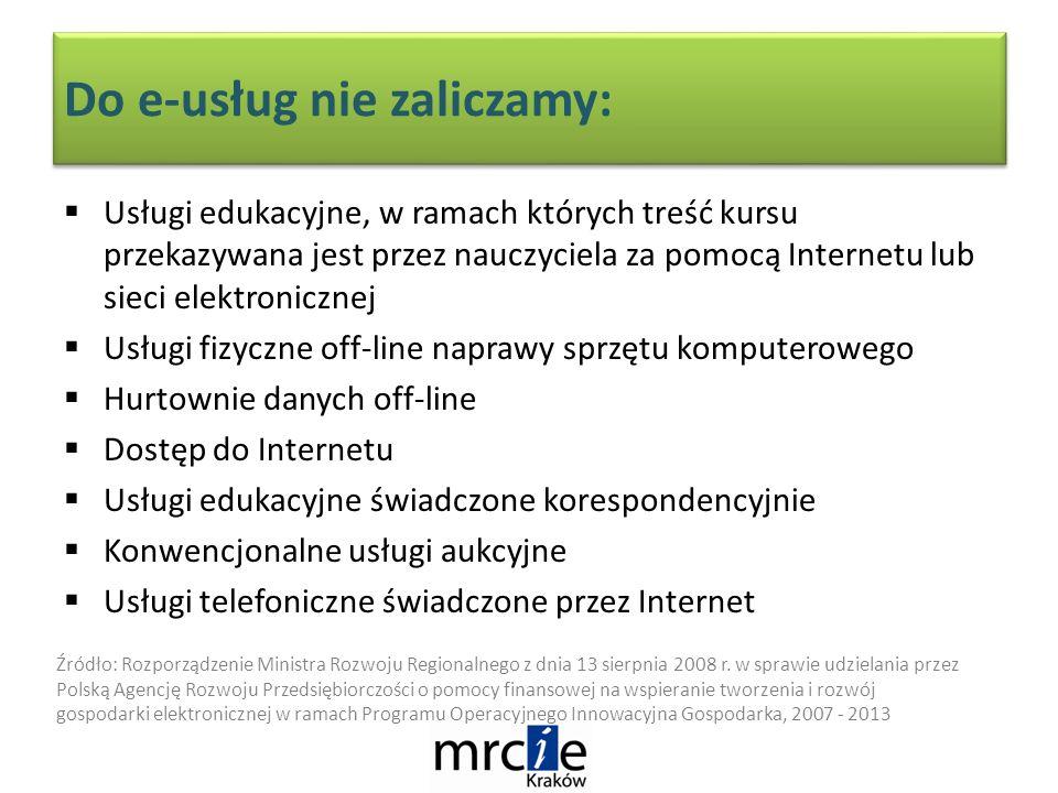 Usługi edukacyjne, w ramach których treść kursu przekazywana jest przez nauczyciela za pomocą Internetu lub sieci elektronicznej Usługi fizyczne off-line naprawy sprzętu komputerowego Hurtownie danych off-line Dostęp do Internetu Usługi edukacyjne świadczone korespondencyjnie Konwencjonalne usługi aukcyjne Usługi telefoniczne świadczone przez Internet Do e-usług nie zaliczamy: Źródło: Rozporządzenie Ministra Rozwoju Regionalnego z dnia 13 sierpnia 2008 r.