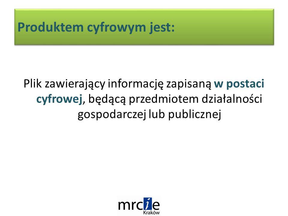 Produktem cyfrowym jest: Plik zawierający informację zapisaną w postaci cyfrowej, będącą przedmiotem działalności gospodarczej lub publicznej