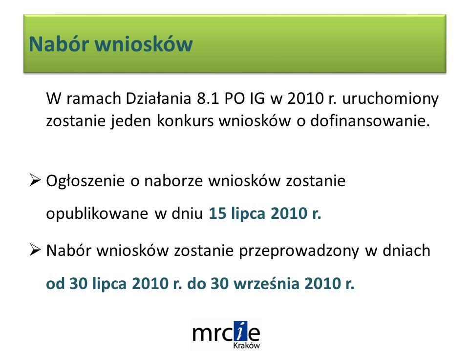 Nabór wniosków W ramach Działania 8.1 PO IG w 2010 r.