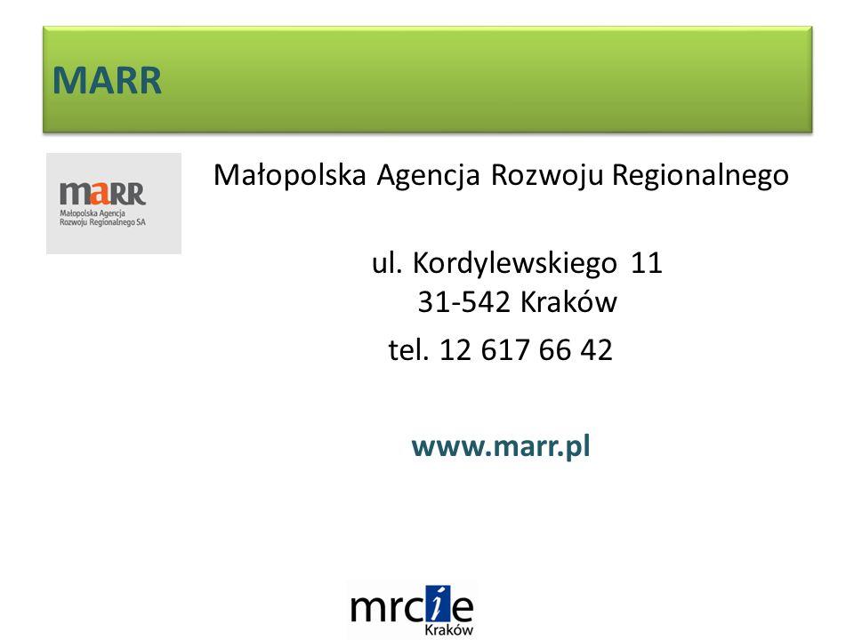 MARR Małopolska Agencja Rozwoju Regionalnego ul. Kordylewskiego 11 31-542 Kraków tel.