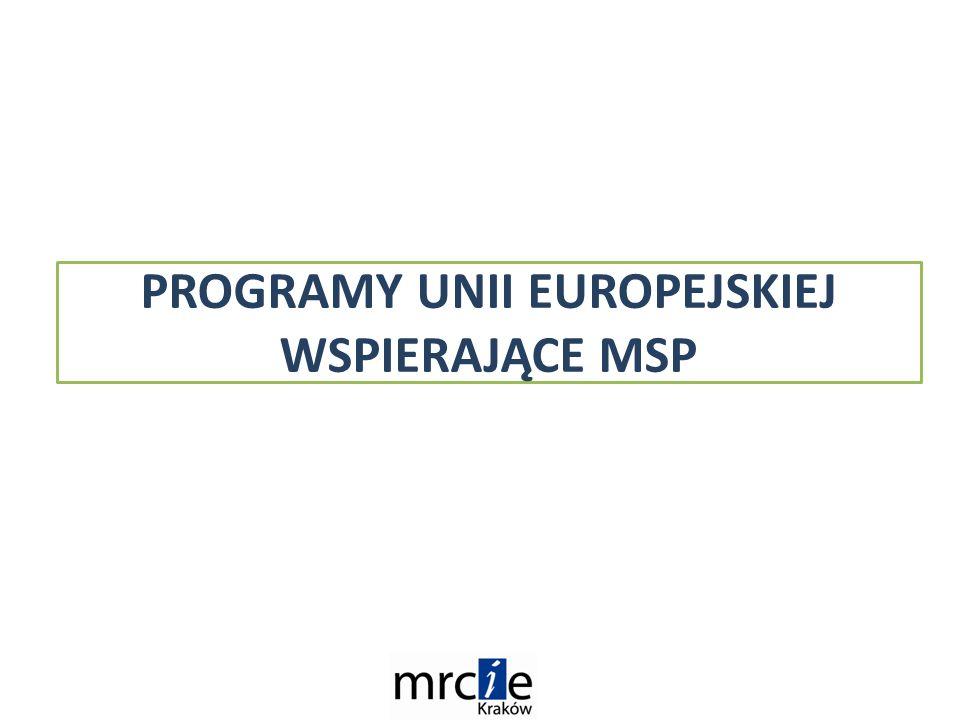 PROGRAMY UNII EUROPEJSKIEJ WSPIERAJĄCE MSP
