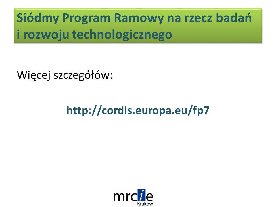 Więcej szczegółów: http://cordis.europa.eu/fp7 Siódmy Program Ramowy na rzecz badań i rozwoju technologicznego