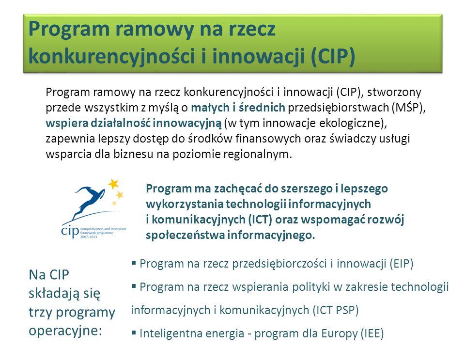 Program ramowy na rzecz konkurencyjności i innowacji (CIP) Program ramowy na rzecz konkurencyjności i innowacji (CIP), stworzony przede wszystkim z myślą o małych i średnich przedsiębiorstwach (MŚP), wspiera działalność innowacyjną (w tym innowacje ekologiczne), zapewnia lepszy dostęp do środków finansowych oraz świadczy usługi wsparcia dla biznesu na poziomie regionalnym.