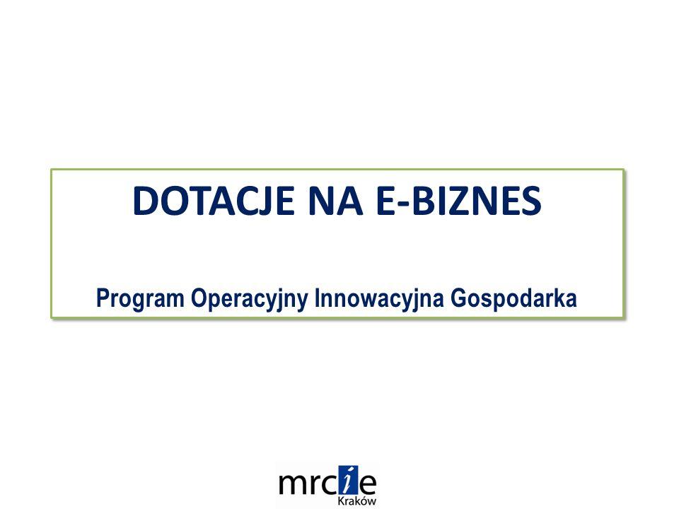 DOTACJE NA E-BIZNES Program Operacyjny Innowacyjna Gospodarka DOTACJE NA E-BIZNES Program Operacyjny Innowacyjna Gospodarka