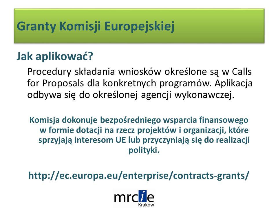 Granty Komisji Europejskiej Jak aplikować.