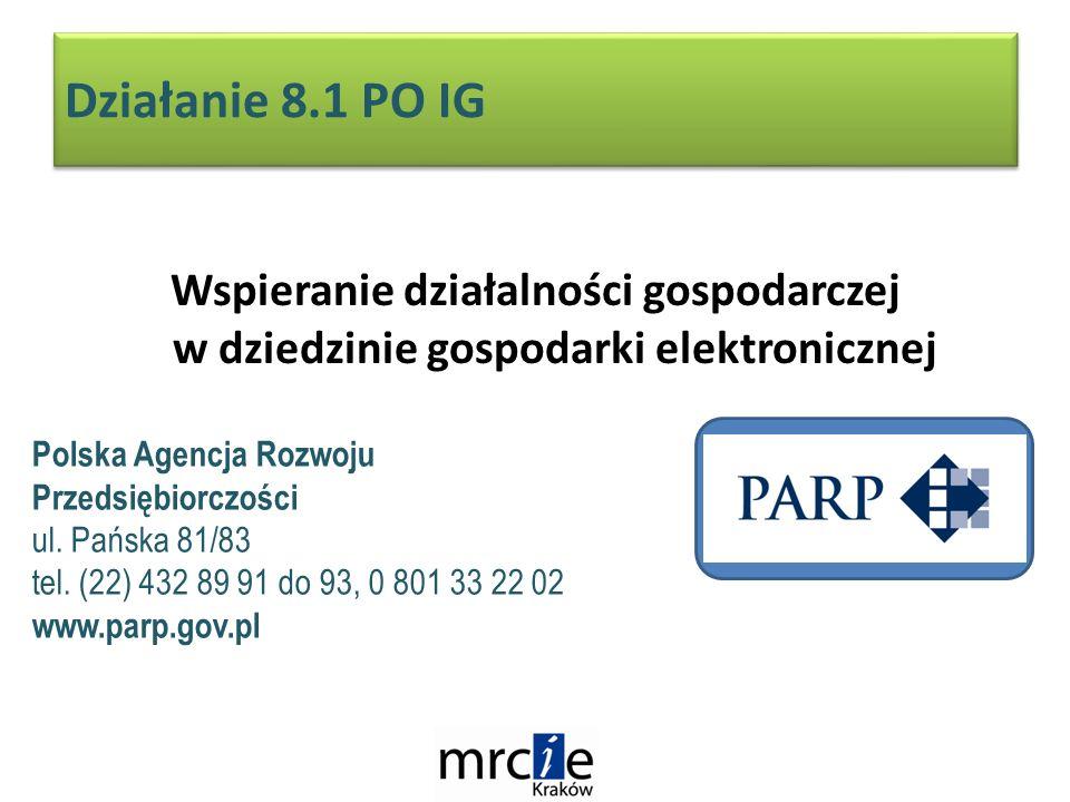 Działanie 8.1 PO IG Wspieranie działalności gospodarczej w dziedzinie gospodarki elektronicznej Polska Agencja Rozwoju Przedsiębiorczości ul.