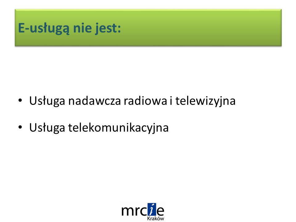 E-usługą nie jest: Usługa nadawcza radiowa i telewizyjna Usługa telekomunikacyjna