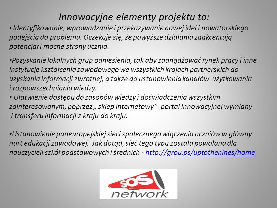 Innowacyjne elementy projektu to: Identyfikowanie, wprowadzanie i przekazywanie nowej idei i nowatorskiego podejścia do problemu.