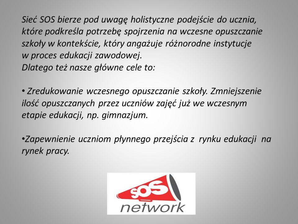 Sieć SOS bierze pod uwagę holistyczne podejście do ucznia, które podkreśla potrzebę spojrzenia na wczesne opuszczanie szkoły w kontekście, który angażuje różnorodne instytucje w proces edukacji zawodowej.