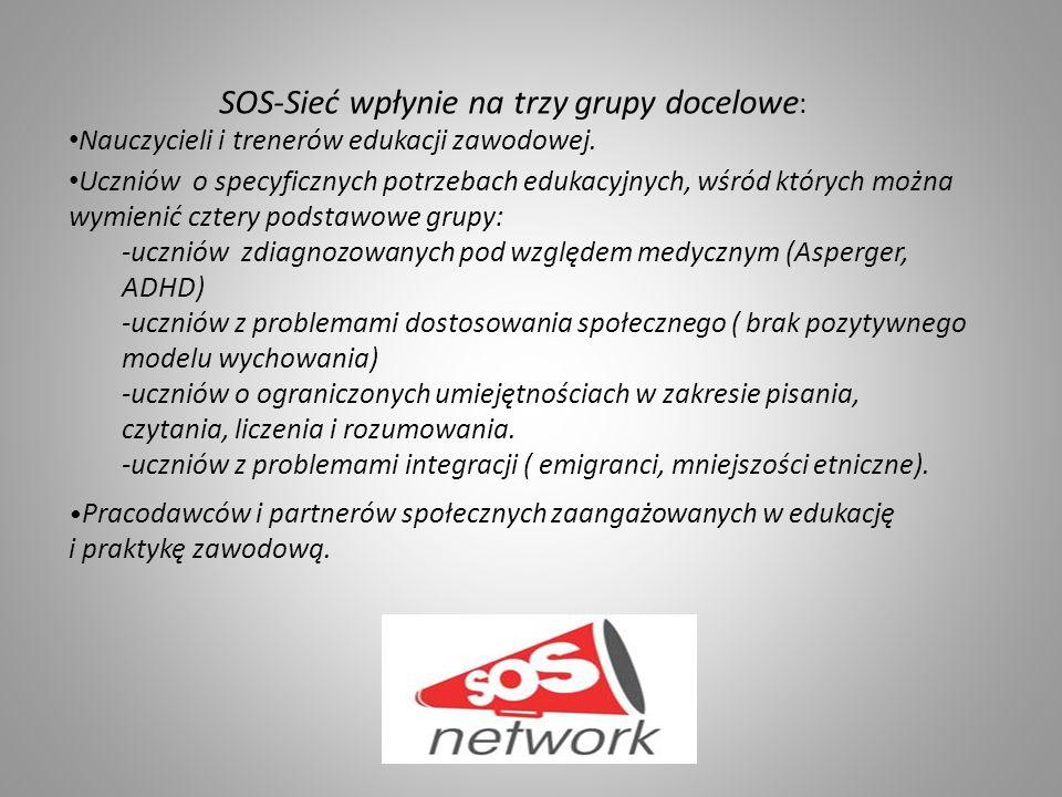 SOS-Sieć wpłynie na trzy grupy docelowe : Nauczycieli i trenerów edukacji zawodowej.