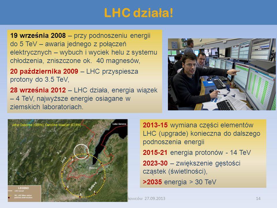 Noc Naukowców 27.09.201314 LHC dzia ł a! 19 września 2008 – przy podnoszeniu energii do 5 TeV – awaria jednego z połączeń elektrycznych – wybuch i wyc