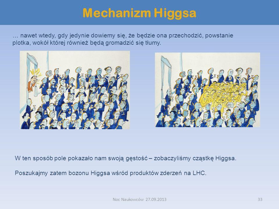 Noc Naukowców 27.09.201333 Mechanizm Higgsa … nawet wtedy, gdy jedynie dowiemy się, że będzie ona przechodzić, powstanie plotka, wokół której również