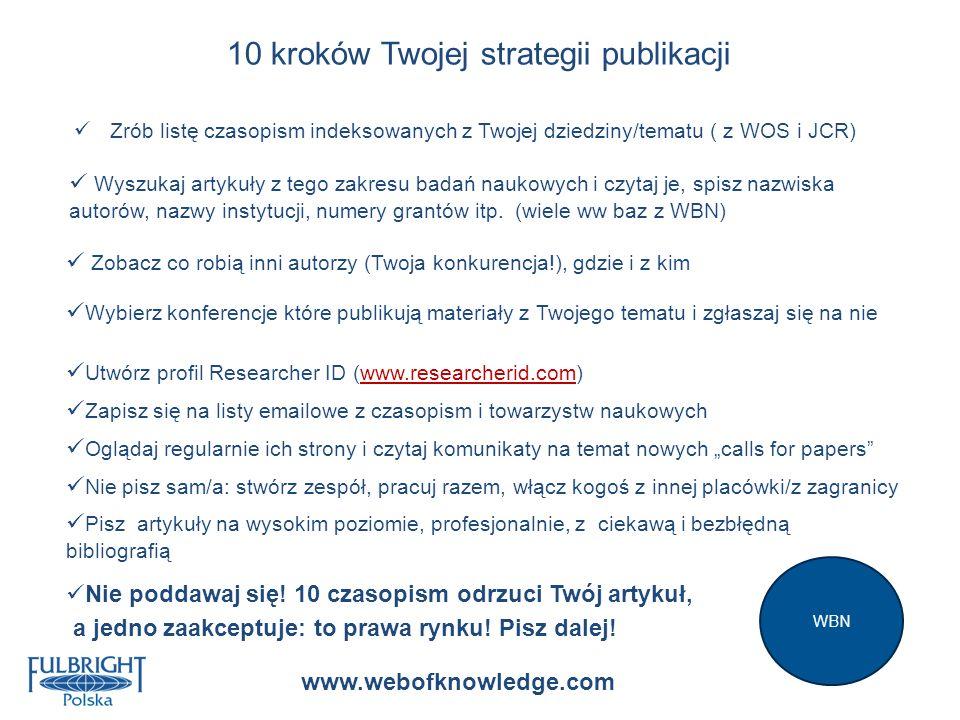 10 kroków Twojej strategii publikacji Zrób listę czasopism indeksowanych z Twojej dziedziny/tematu ( z WOS i JCR) Wyszukaj artykuły z tego zakresu bad