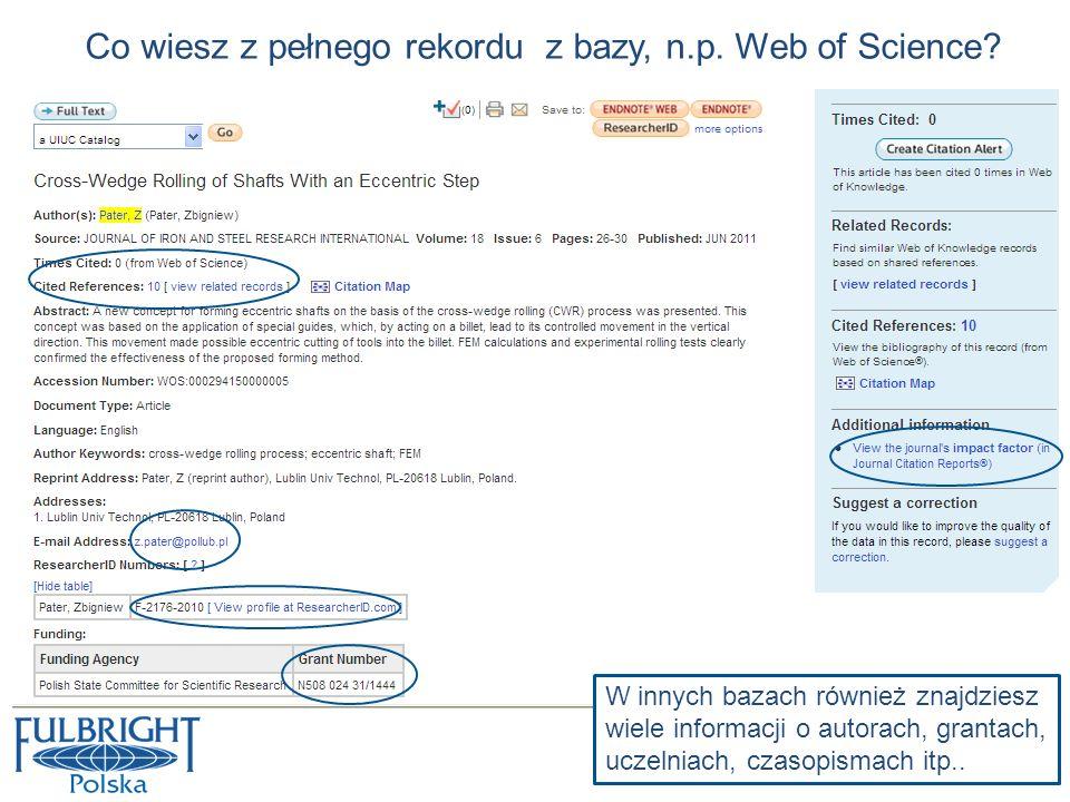 Co wiesz z pełnego rekordu z bazy, n.p. Web of Science? W innych bazach również znajdziesz wiele informacji o autorach, grantach, uczelniach, czasopis