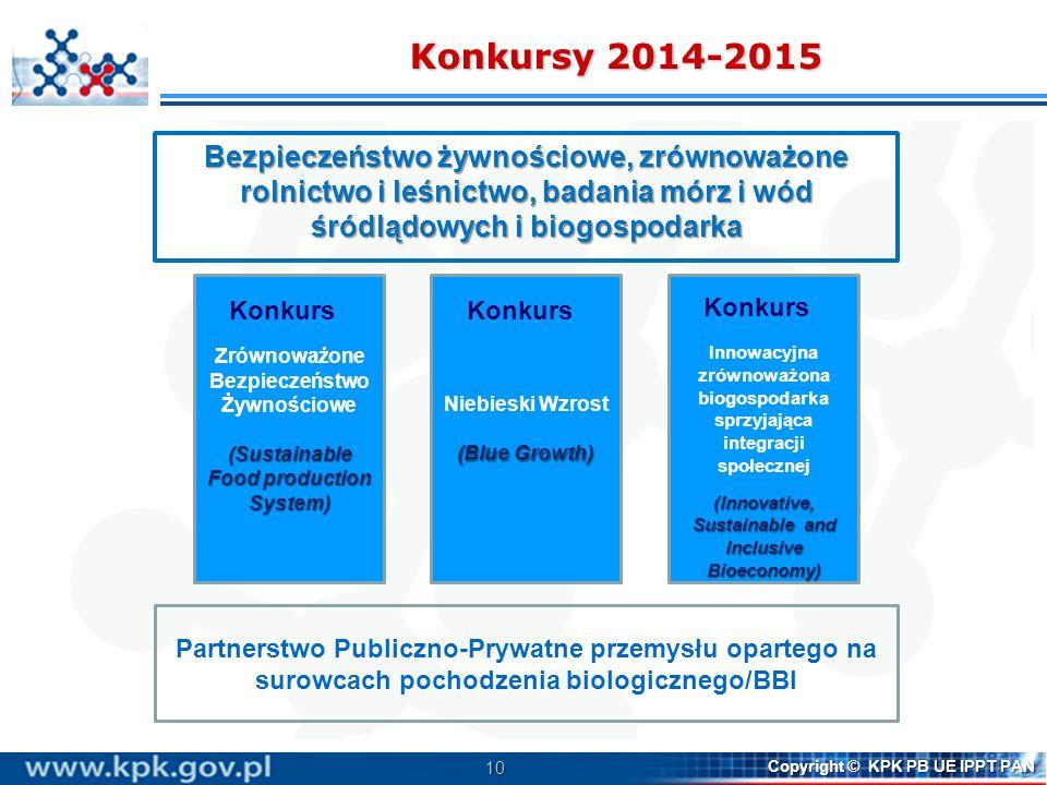 10 Copyright © KPK PB UE IPPT PAN Partnerstwo Publiczno-Prywatne przemysłu opartego na surowcach pochodzenia biologicznego/BBI Zrównoważone Bezpieczeń