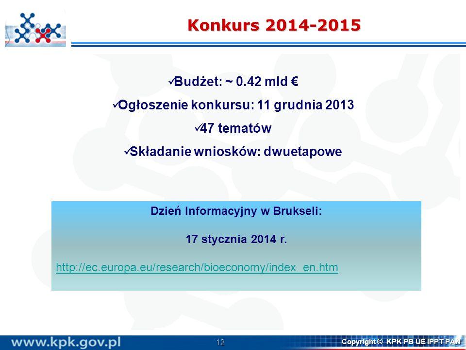 12 Copyright © KPK PB UE IPPT PAN Konkurs 2014-2015 Budżet: ~ 0.42 mld Ogłoszenie konkursu: 11 grudnia 2013 47 tematów Składanie wniosków: dwuetapowe