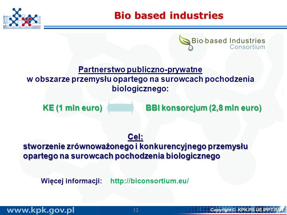 13 Copyright © KPK PB UE IPPT PAN Bio based industries Partnerstwo publiczno-prywatne w obszarze przemysłu opartego na surowcach pochodzenia biologicz