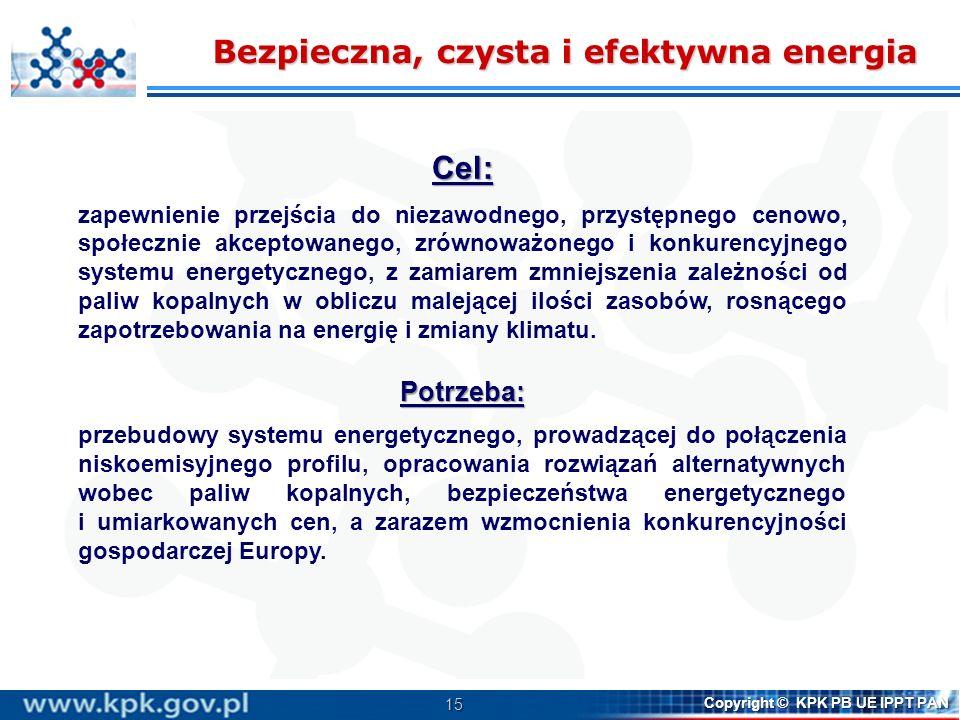 15 Copyright © KPK PB UE IPPT PAN Bezpieczna, czysta i efektywna energia Cel: zapewnienie przejścia do niezawodnego, przystępnego cenowo, społecznie a