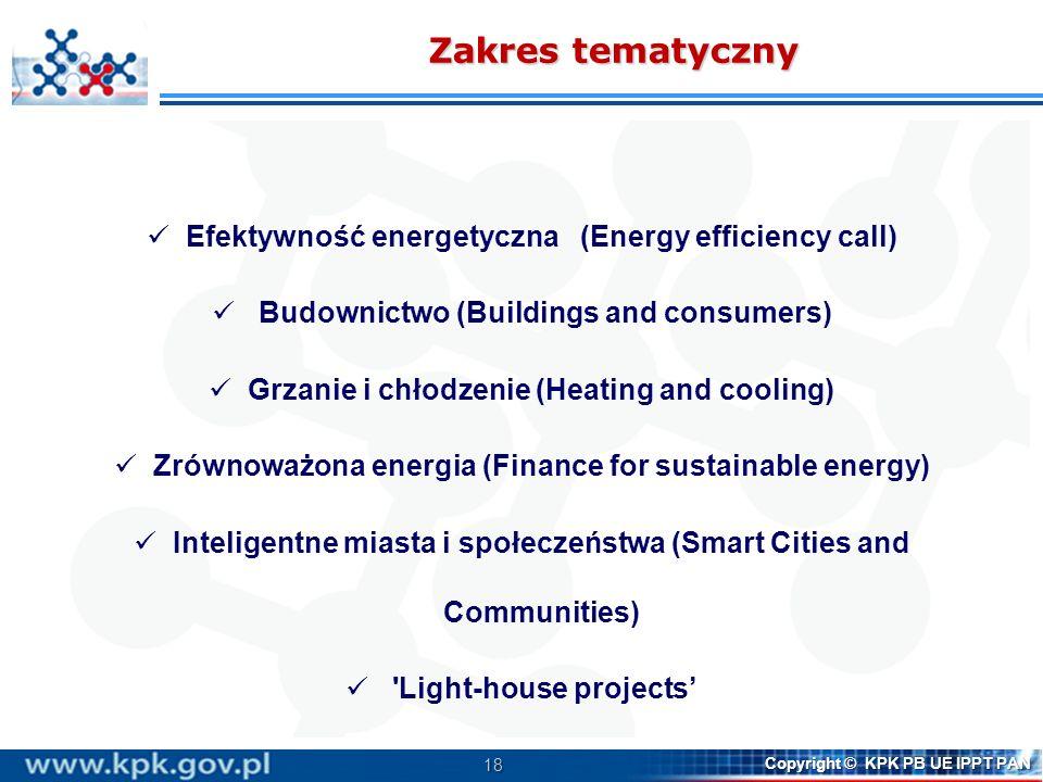 18 Copyright © KPK PB UE IPPT PAN Zakres tematyczny Efektywność energetyczna (Energy efficiency call) Budownictwo (Buildings and consumers) Grzanie i