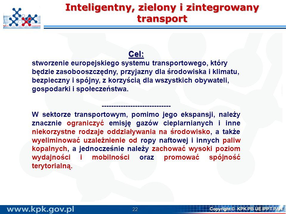 22 Copyright © KPK PB UE IPPT PAN Inteligentny, zielony i zintegrowany transport Cel: stworzenie europejskiego systemu transportowego, który będzie za