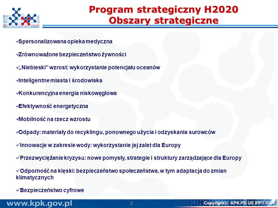 3 Copyright © KPK PB UE IPPT PAN Program strategiczny H2020 Obszary strategiczne Spersonalizowana opieka medyczna Zrównoważone bezpieczeństwo żywności