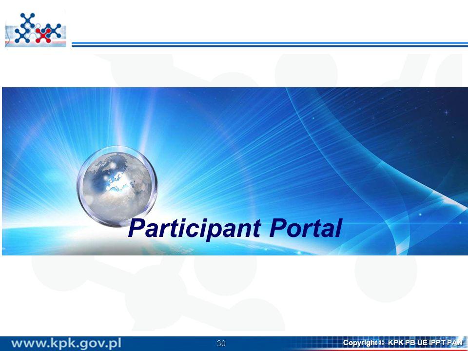 30 Copyright © KPK PB UE IPPT PAN Participant Portal