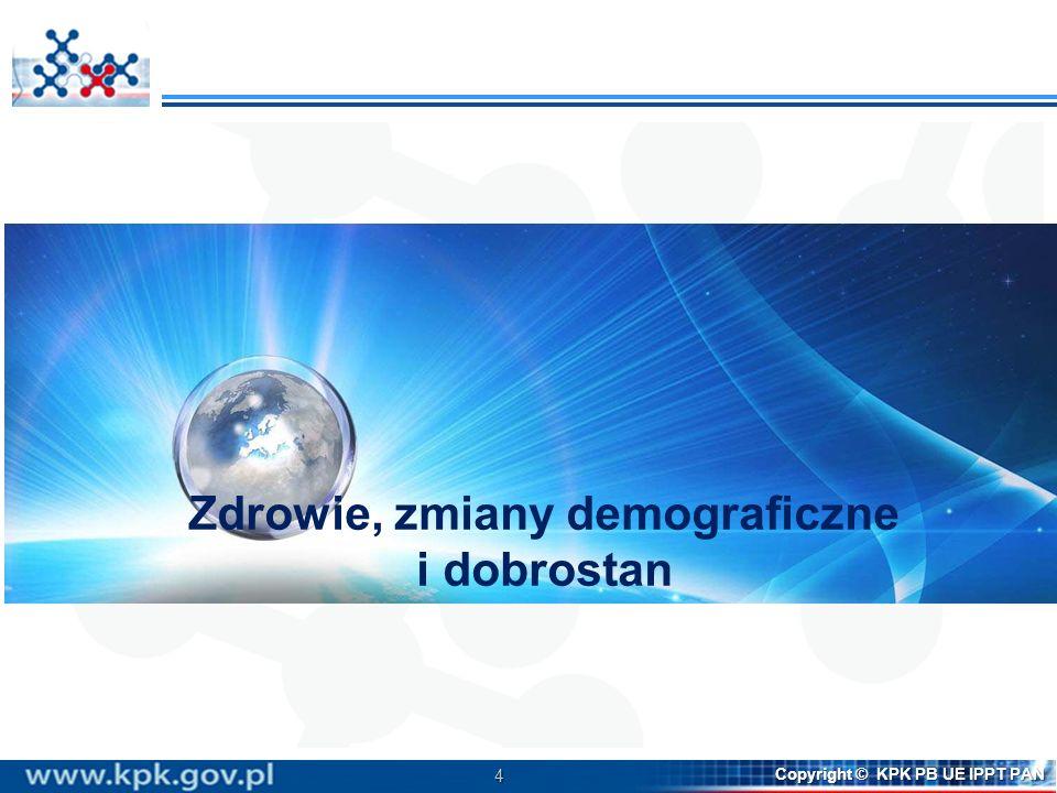 4 Copyright © KPK PB UE IPPT PAN Zdrowie, zmiany demograficzne i dobrostan
