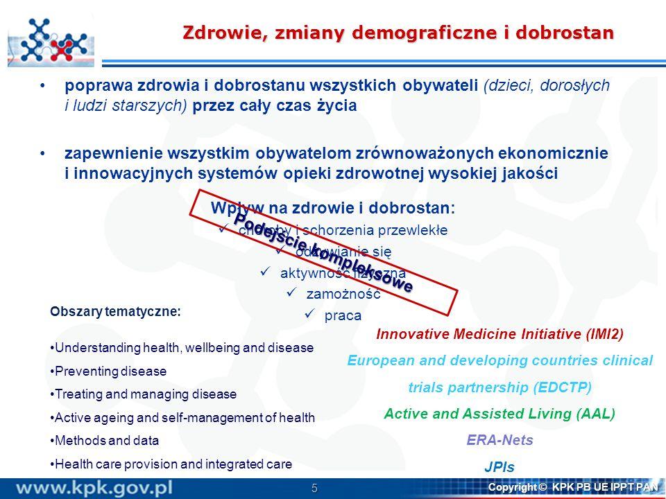 5 Copyright © KPK PB UE IPPT PAN Zdrowie, zmiany demograficzne i dobrostan poprawa zdrowia i dobrostanu wszystkich obywateli (dzieci, dorosłych i ludz