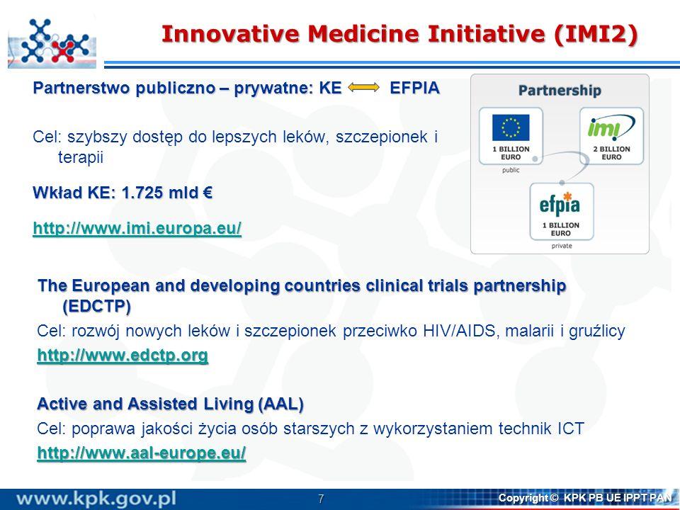 7 Copyright © KPK PB UE IPPT PAN Innovative Medicine Initiative (IMI2) Partnerstwo publiczno – prywatne: KE EFPIA Cel: szybszy dostęp do lepszych lekó