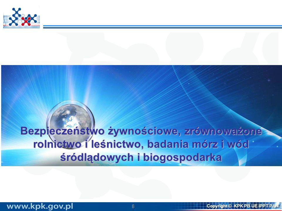 8 Copyright © KPK PB UE IPPT PAN Bezpieczeństwo żywnościowe, zrównoważone rolnictwo i leśnictwo, badania mórz i wód śródlądowych i biogospodarka
